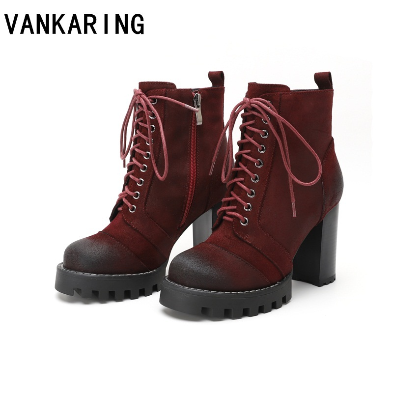 VANKARING large size suede leather ankle boots for women round toe high heels women boots brand riding autumn winter boots womenVANKARING large size suede leather ankle boots for women round toe high heels women boots brand riding autumn winter boots women