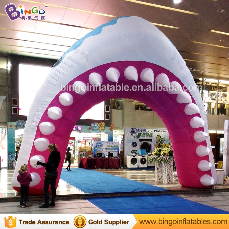 Customized 5.4X5 meters inflatable shark-mouth arch / airblown shark mouth archway / inflatable shark arch for display toys