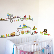 Cartoon Cars Highway Track Wall Stickers For Kids Rooms Play Decoration Growth Chart PVC Decor DIY Animals Art Decals
