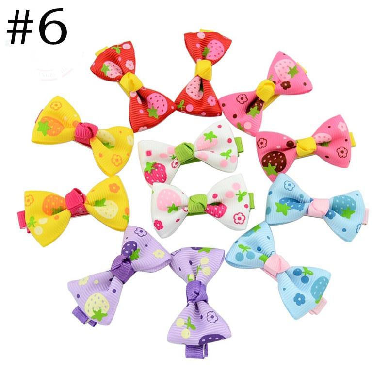 HTB1o8lhQXXXXXabXXXXq6xXFXXXU Trendy Girls Candy Color Dot Flower Print Ribbon Bow Hair Clips - 7 Styles