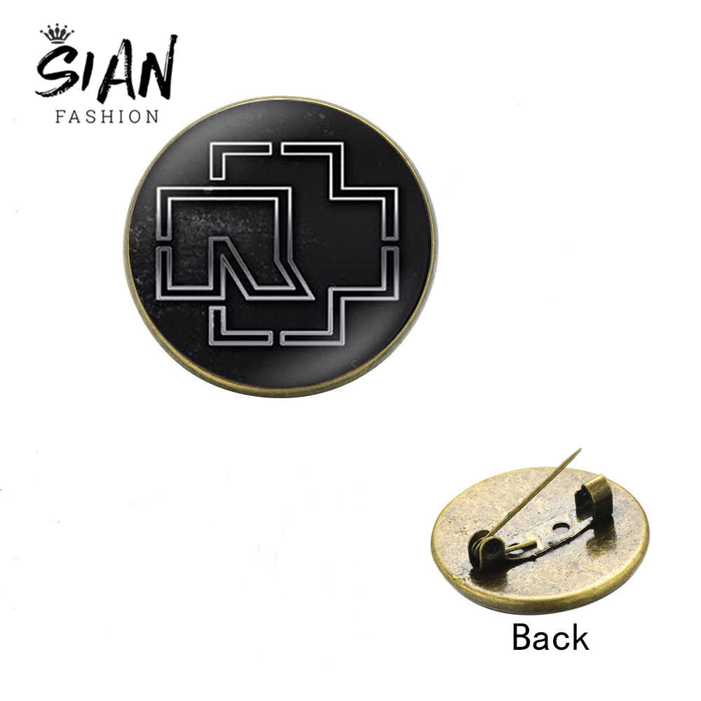 SIAN Cool Punk Rammstein Band Logo 3D Printed Brooches Badges Denim Jackets Clothes Collar Pins Hat Backpack Decorative Jewelry