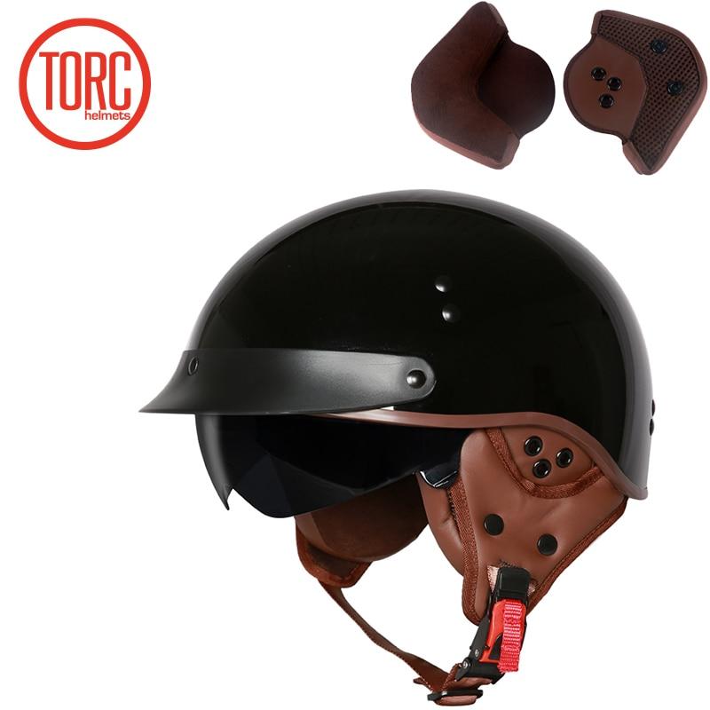TORC New Arrival Vintage Half Face Motorcycle Helmet Casco Casque Moto  Retro Helmets With Inner Sun Visor lucky 13 helmet-in Helmets from Automobiles & Motorcycles    3