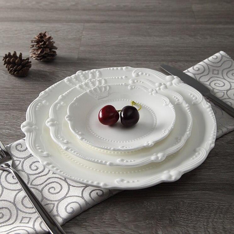 Service d'assiettes en céramique porcelaine   Soulagement de la couronne royale de 6 ''8'' 10 ''assiette principale, plateau de service, vaisselle pour Restaurant, Home café