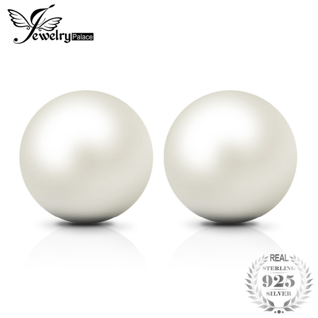 JewelryPalace Fashion 6-10mm Freshwater Cultured Pearl Button Ball Stud Earrings
