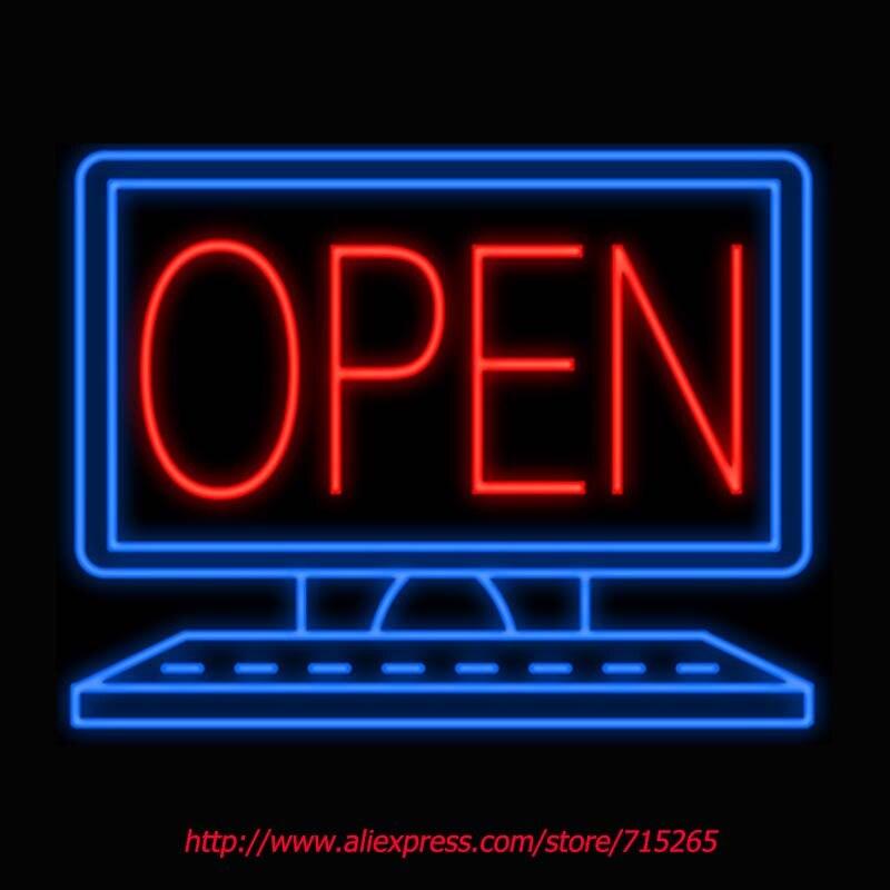 Open Desktop Computer Neon Sign Board Neon Bulbs Light Shop Display GlassTube Custom LOGO Handcrafted Business ADVERTISING 24x18