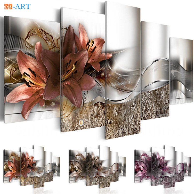 Dark Purple Lilies Blossom Print Canvas Painting 5 Panel Brown And Orange Flower Poster Elegance Wall Art For Bedroom Home Decor