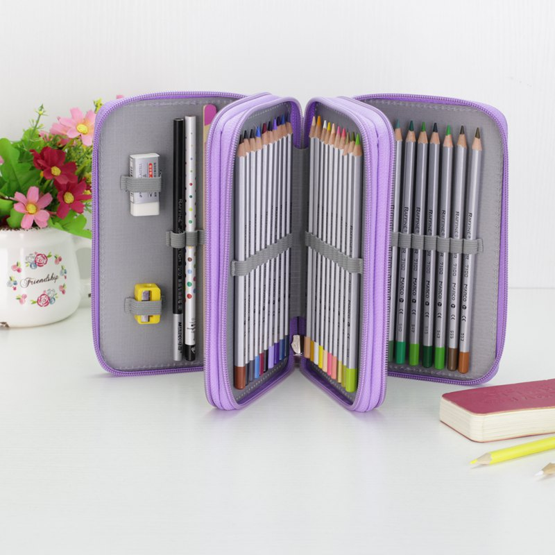 Fabirc Pencil Bag Sketch Pen Case Large Smile Zipper Multilayer Hole Pencilcase Kid Girls Office School Multifunction Stationery good quality 36 48 72 holes canvas pencil case roll up sketch painting pen box school office pencil stationery bag b066