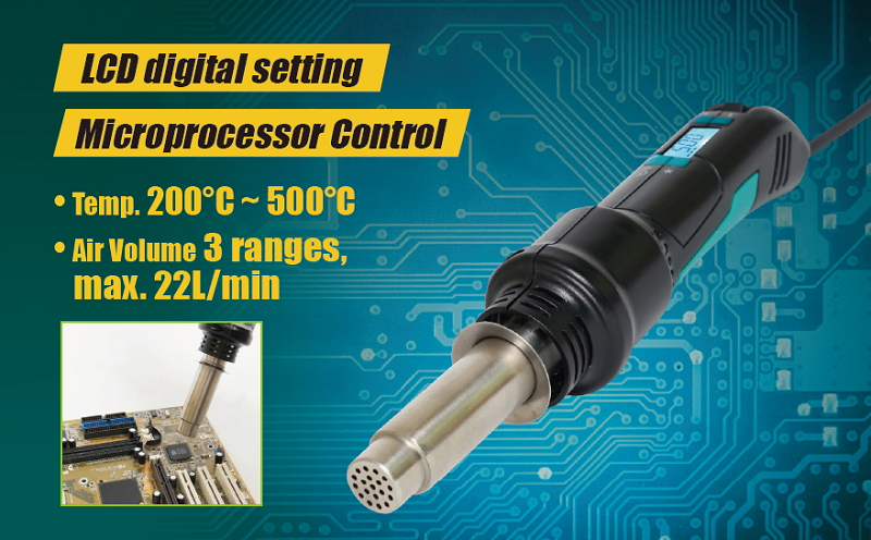 Pro'sKit SS 602H 300W LCD Display Temperature Adjustable Hot Air SMD Rework Tool Controlled Portable Hot Air Gun