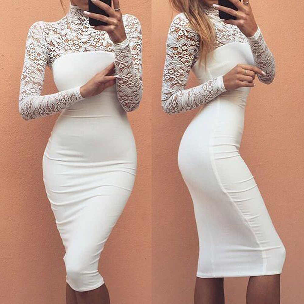 234af83f6277 Sexy Women White Lace Dress New 2018 Winter Turtleneck Long Sleeve Red Black  Club Factory Bodycon