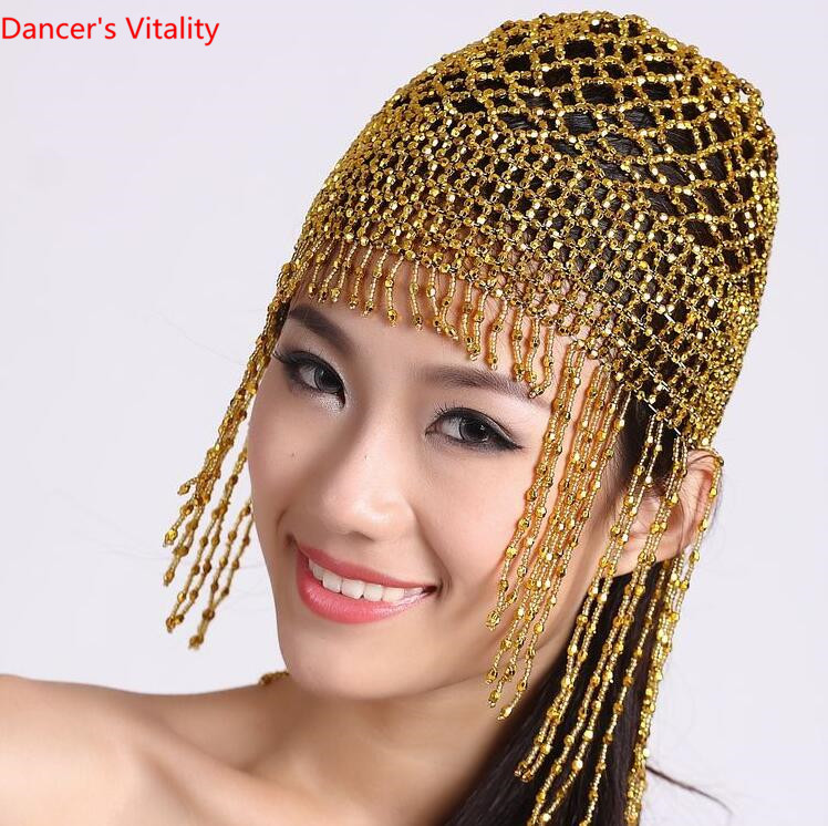 Women Tribal Exotic Hat Elastic Bead Cap Tassel Belly Dance Hair Accessory Costume Golden Silver ATS Free Shipping