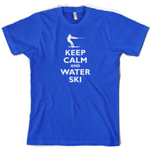 Keep Calm and Water SkiER - Mens T-Shirt Free UK P&P Mans Unique Cotton Short Sleeves O-Neck T Shirt