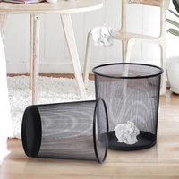 2 Size/Set Mesh Wastebasket Trash Can Open Top Waste Basket Bin for Office Home School Classroom Paper Rubbish