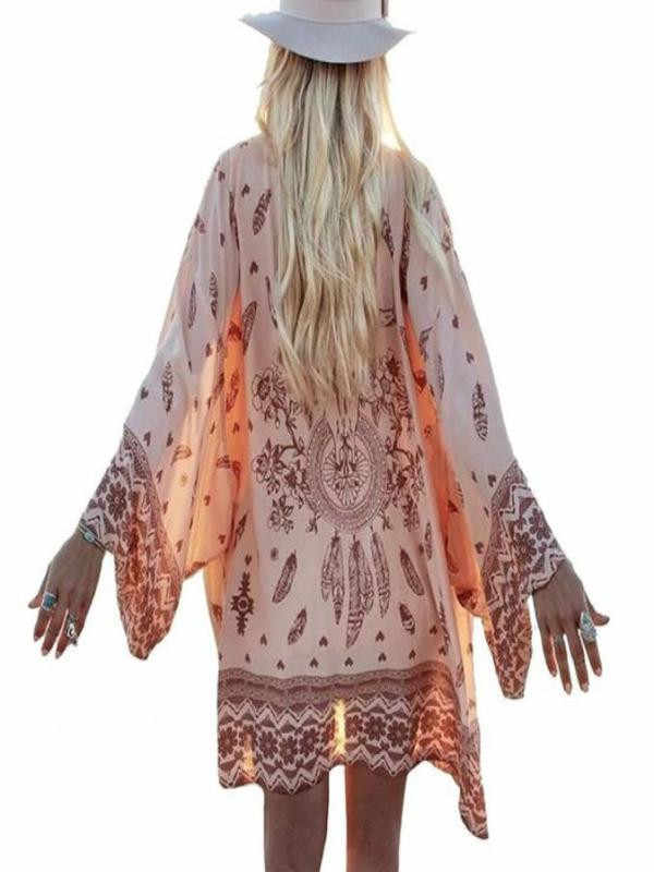 Boho Women Chiffon Loose Shawl Kimono Cardigan Coat Casual Summer Spring Tops Print Cover up Blouse For Ladies outwear 2019