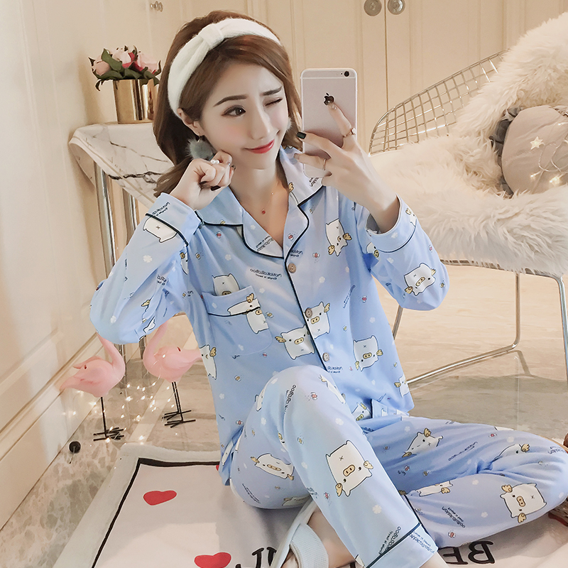 Autumn Winter new Women Pyjamas Cotton Long Tops   Set   Female   Pajamas     Set   NightSuit Sleepwear   Sets   Long Pant Women casual homewear