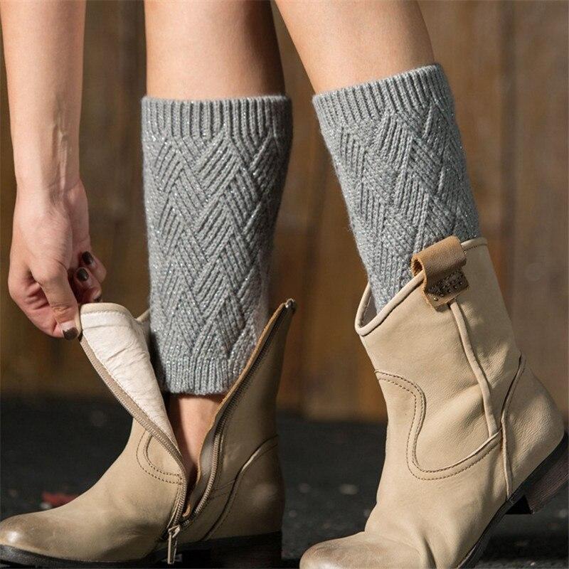 Winter Thick Fleece Women Leg Warmers Knitting Rhombus Boot Socks Ladies Boot Cuffs Legwarmer Boot Toppers Elegant Shape Leg Warmers