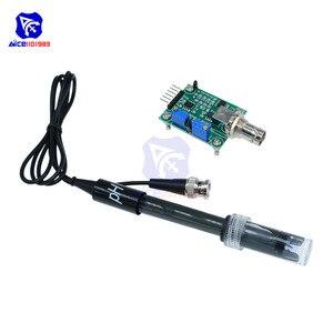 Diymore líquido PH0-14 valor detectar módulo de sensor com sonda eletrodo ph bnc para arduino