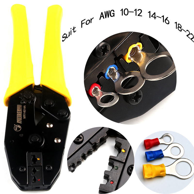 цена на AWG22-10 Terminals Ratcheting Crimp Pliers Locking Press Pliers Terminal Crimper Plug Crimping Plier Hand Tool