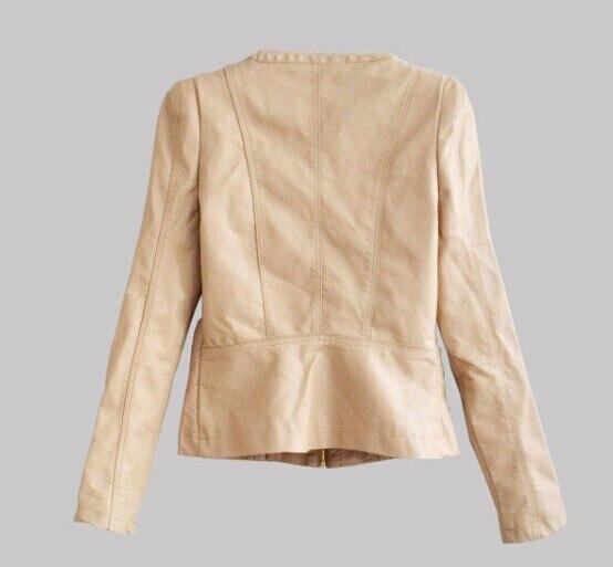 Новая мода осень зима Брендовая женская мотоциклетная кожаная куртка Pu с круглым вырезом кожаное пальто Casaco Feminino красный, хаки A0304 - Цвет: khaki