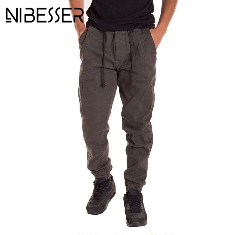 NIBESSER Men Casual Elastic Waist Pants Fashion Fitness Loose Sweatpants Trousers Jogger Pants Male Solid Trousers Bottoms Z30