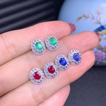 exquisite colorful gemstone earrings for beauty jewelry stud earrings natural emerald ruby sapphire real 925 silver earring gift