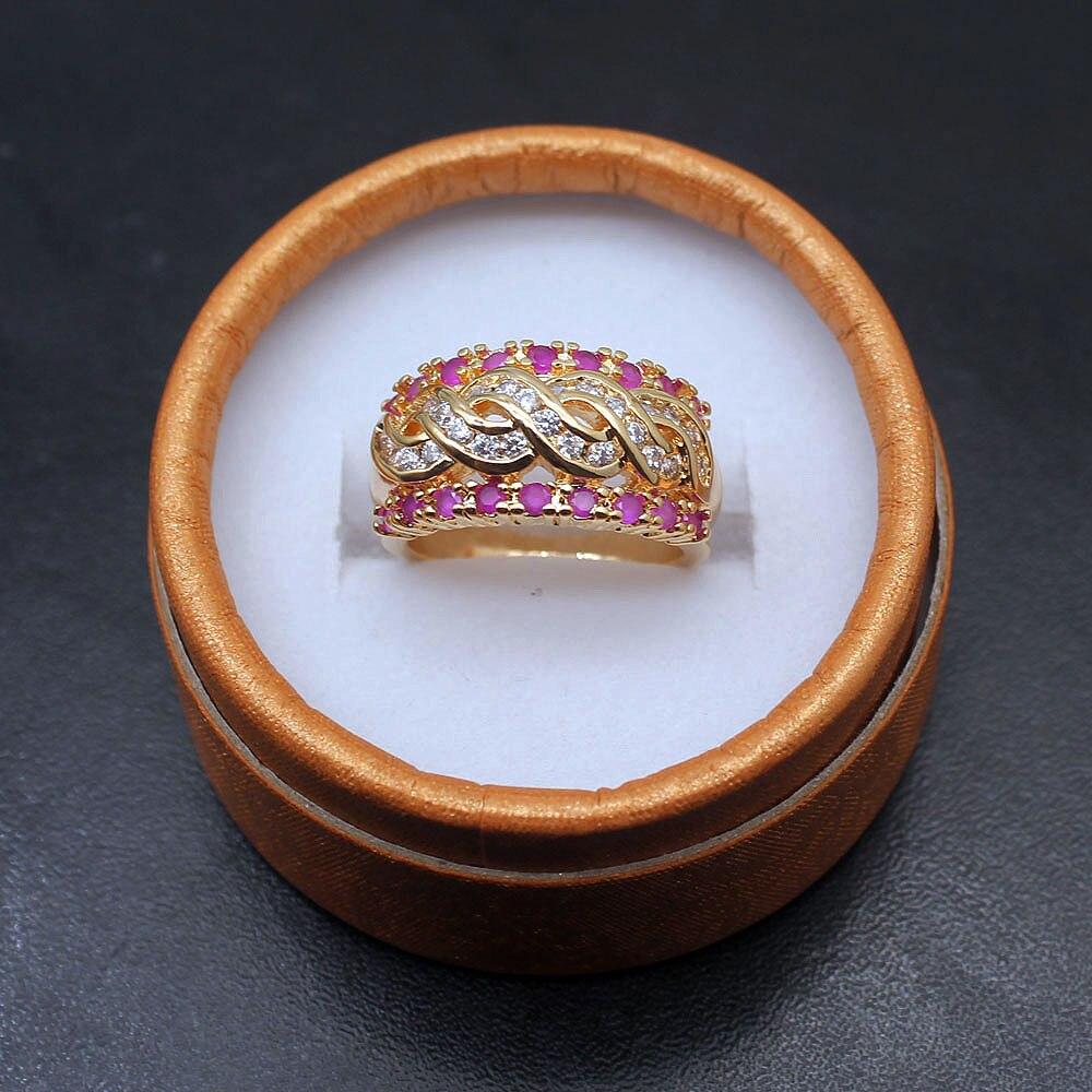 2018 Новое поступление специальное желтое золото RubyTopaz Обручальное кольцо обещания Модные украшения для мамы Подарки Размеры 7 8 9