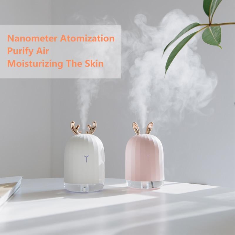 Alta calidad 220 ml ultrasónico de aire humidificador Aroma difusor de aceite esencial para casa USB nebulizador fabricante de la niebla con LED lámpara de noche