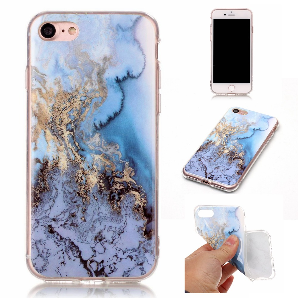 Newest For iphone 7 Luxury Blue White Green Black Marble Design Phone Case For Apple Iphone7Plus Gloss TPU Soft Back Case Cover