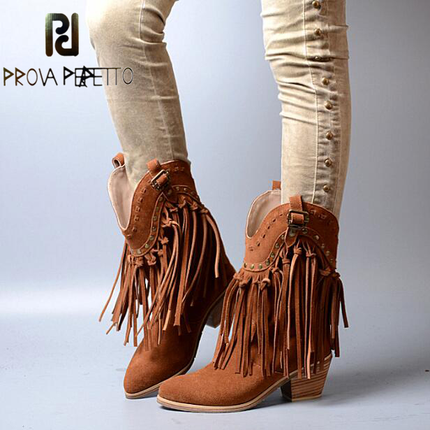 Prova Perfetto Women Chunky High Heel Boots Suede Fringed Slip On Women Platform Pumps Full Tassels Buckle Autumn Winter Botas jady rose brown fringed women chunky high heel boots suede slip on women rivets studded rubber boot platform autumn winter botas