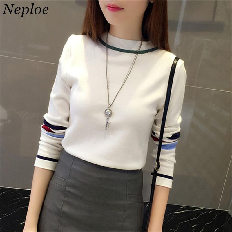 Neploe Knitwear Sweater Pullovers Long-Sleeve Autumn Winter O-Neck Slim Striped Korean-Fashion