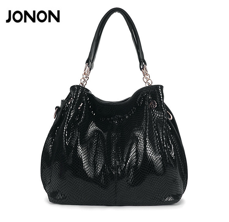 de745cc7df90c Jonon Leather Handbags Women s Snake Bag Famous Brands Fashion purse high  quality women messenger bags tote bag-in Top-Handle Bags from Luggage   Bags  on ...