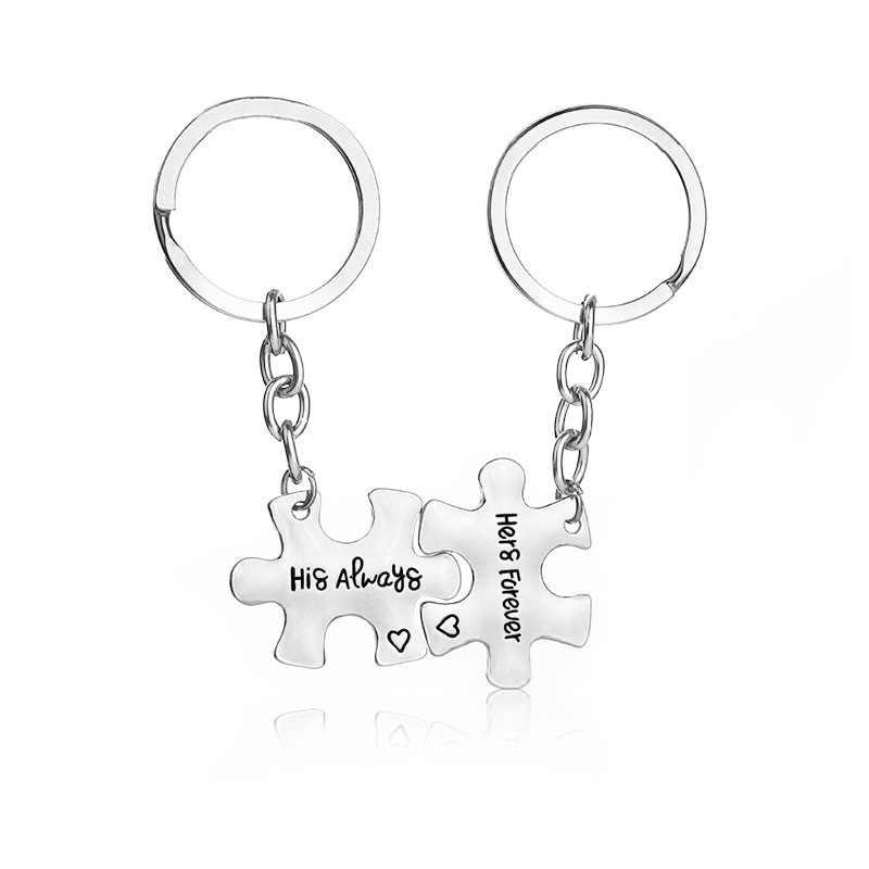 Chaussures bijoux mode 2 pièces/ensemble saint valentin Couple porte-clés en alliage de Zinc lettre porte-clés saint valentin cadeau bijoux