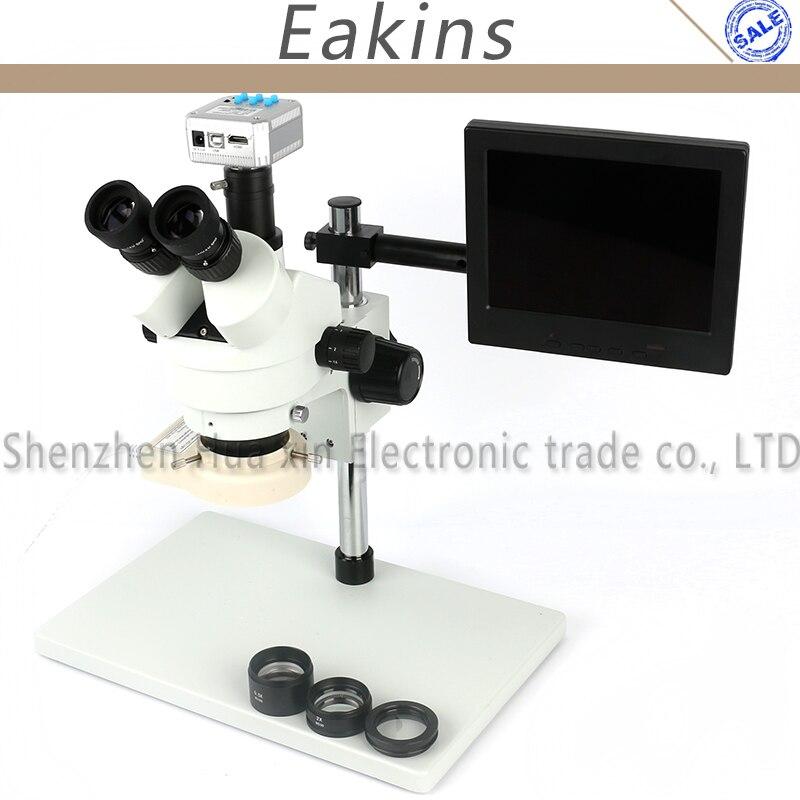 3,5-90X Тринокулярный Стерео микроскоп + большой стенд + 0,5/2X Вспомогательный объектив + 56 светодиодный свет + 16MP HDMI USB Камера + 8 ЖК-дисплей