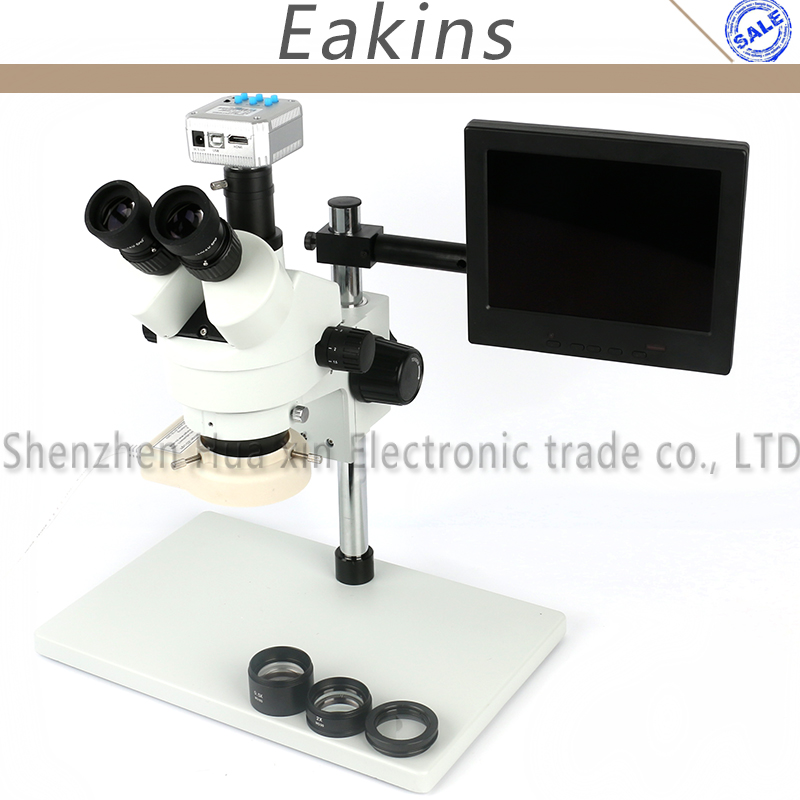 3.5-90X Trinoculaire Zoom Stéréo Microscope + Grand stand + 0.5/2X Auxiliaire Objectif + 56 LED lumière + 16MP HDMI USB Caméra + 8 LCD