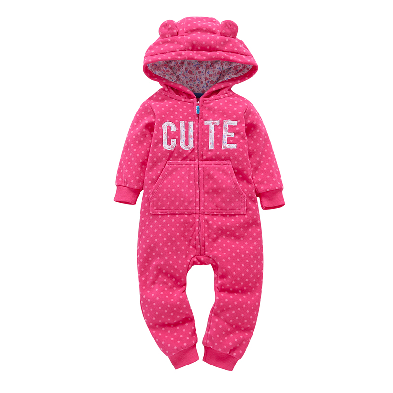 Baby Girls One Piece Romper Floral Print Hooded Elephant 100% Cotton Candy Pink Print Zipper Babys Climbing Clothes New Brand
