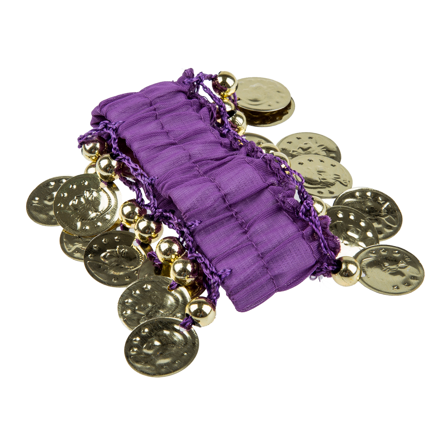 1 Pair Belly Dance Wear Bracelets Wrist Ankle Arm Cuffs Shiny Beads Gold Coins - purple