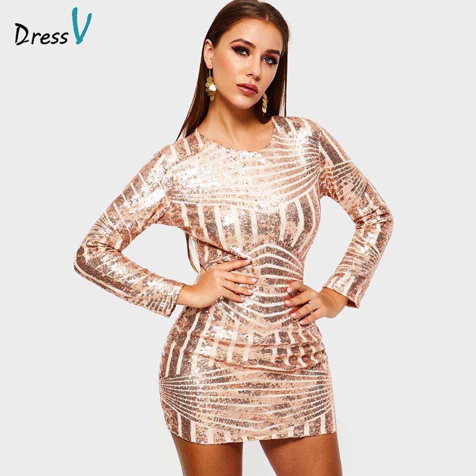 Dressv sequins cocktail dress long sleeves backless elegant formal party dress cheap sheath short cocktail dresses