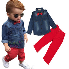 Новый розничная мода 2016 детский галстук-бабочка джинсы моды с длинными рукавами + брюки повседневная одежда группа