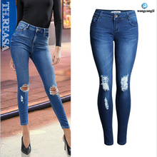 Capri Jeans for womens high waisted Blue Jeans Girls Stretching skinny jeans women summer pants boyfriend jeans 2017 plus size
