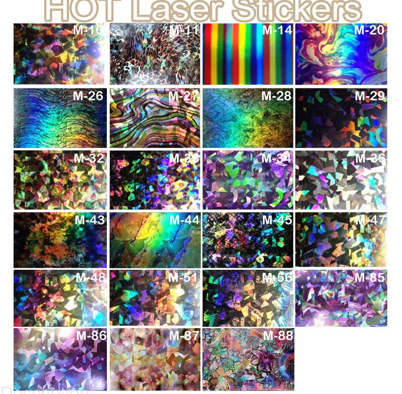 5PC New Laser Nail Foils Holographic Foils Decals 2016 New Fashion Manicure Tips Nail Art Transfer Stickers Paper TME050 holographic nail foils all kinds snowflakes pattern diy nail art transfer decals manicure tools gl615