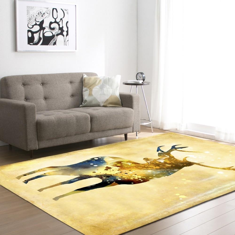 Belle bande dessinée Deers décoration grands tapis Style nordique mode salon zone tapis antidérapant doux flanelle tapis tapis tapis