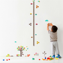 cartoon forest tree animal flower height measure wall stickers for kids rooms decor pvc plane growth chart wall decals diy mural animal height chart wall stickers diy kid room decor