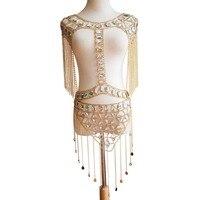 Sexy club Metal Chain Crystal Diamond Dress Women Summer Tassel Sequin Sparkling 2 Two piece Luxury party Dress Bar Festive wear