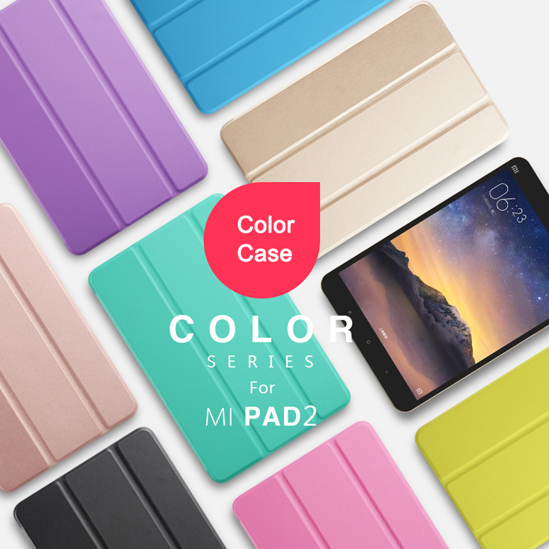 Color Smart Case For Xiaomi Mipad 2 Ultra-thin Folding Intelligent Flip PU Leather Case With Crystal Cover ultra thin smart flip pu leather cover for lenovo tab 2 a10 30 70f x30f x30m 10 1 tablet case screen protector stylus pen