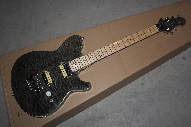 HOT wholesale High Quality CUSTOM guitar Ernie ball Music Man signature Black tiger burst ELECTRIC guitar with hardcase