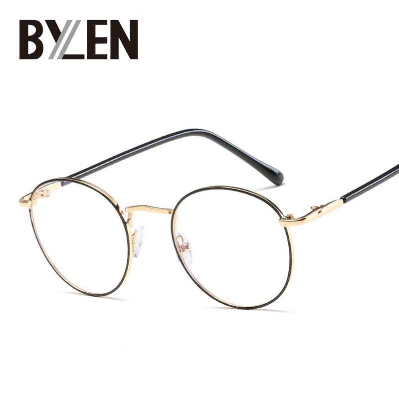 BYLEN Vintage Round Glasses Frames Small Thin Rim Fashion Metal ...