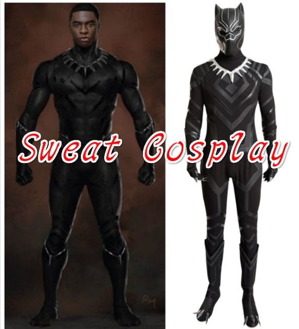 2016 High Quality Black Panther Costume Captain America Civil War Black  Panther Halloween Cosplay Costume Adult
