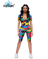 Camo Streetwear Bodycon Playsuit Short Sleeve Front Zipper Summer Sexy Club Party Shorts Jumpsuit Rompers Women Overalls
