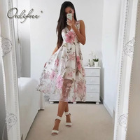 Ordifree 2018 Summer Chinese Style Long Mesh Dress V Neck Sleeveless Flower Print Pink White Sexy