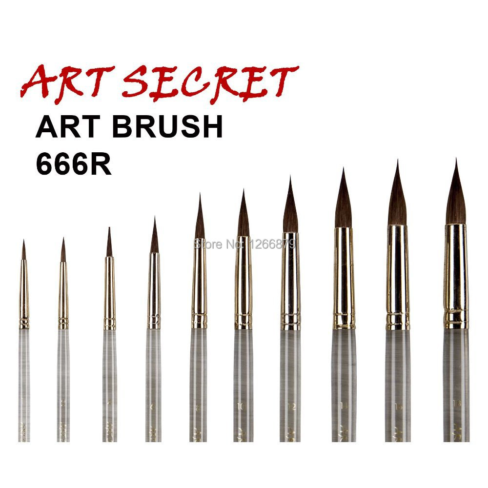 High quality paint art brushes pure kolinsky hair watercolor nail brush 666r acrylic handle in - High quality exterior paint set ...