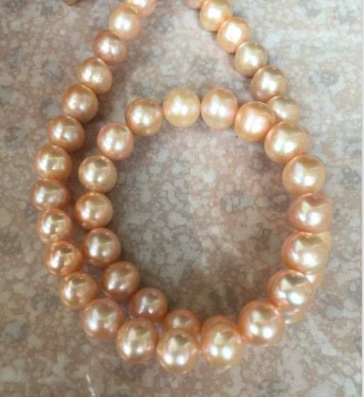 gorgeous 9-10mm round south sea gold pearl necklace 18inch 14k gorgeous 13 14mm south sea baroque multicolor pearl necklace 18inch